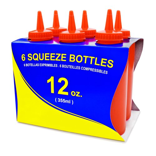 - New Star Foodservice 26313 Squeeze Bottles, Plastic, 12 oz, Red, Pack of 6