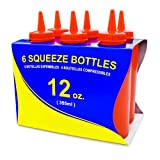 New Star 26313 Plastic Squeeze Bottle, 12-Ounce, Red, Set of 6