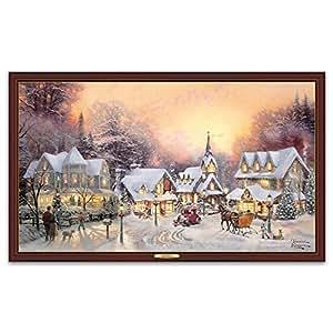 Thomas kinkade lighted canvas print from bradford exchange village christmas by the for Home interiors thomas kinkade prints