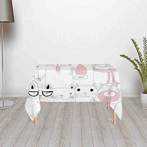 TecBillion Kitten Comfortable Satin Tablecloth,Many Faced Bunch of Happy Sad Sleepy Sassy Cat Caricature Kids Nursery Theme for Office & Home Table,48.03''W x 24.02''H ()