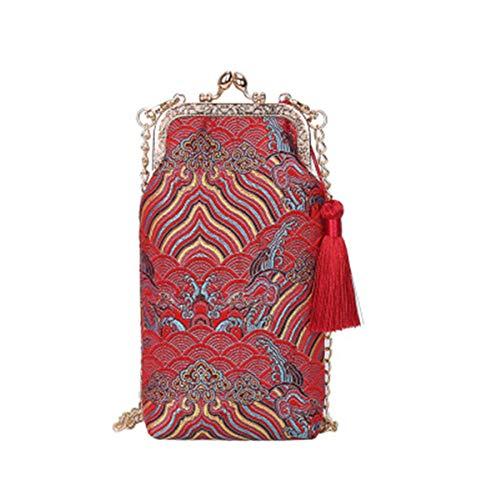 Handbag Bridal for Red Women's Embroidery Evening Silk Purse Clutch Wedding Tassel Vintage BeautyWJY v8qBwzz