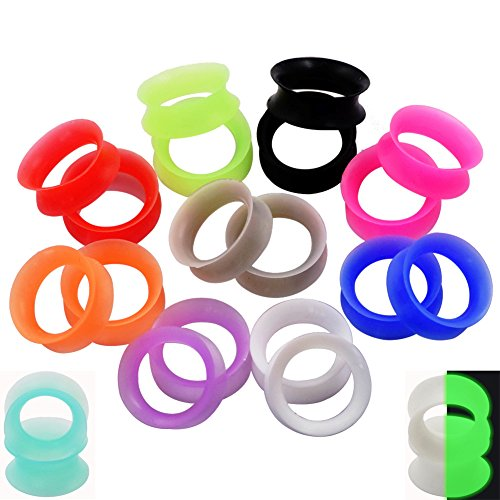 22pcs Thin Silicone Tunnels & 22pcs Thick Silicone Tunnels Ear Gauges Flesh Tunnels Plugs Stretchers Expander 5/8''(16mm) by Oyaface (Image #2)