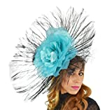 Gorgeous Angels Very Large Black & Turquoise Ascot Derby Fascinator Hat - With Headband