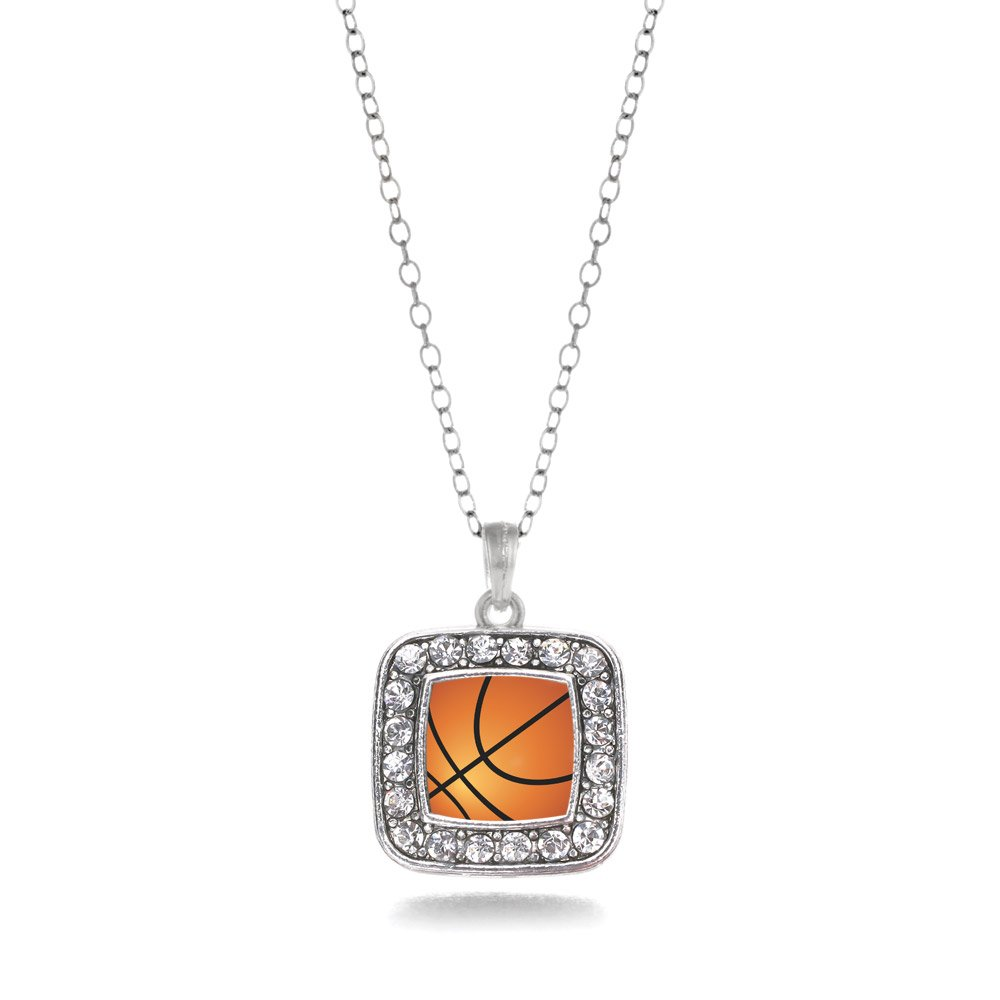 Basketball Lovers Charm Classic Silver Plated Square Crystal Necklace