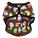 BB2 Baby One Size Printed Minky Minkee Snaps Cloth Diaper Cover for Prefolds (One Size, Brown Owls)