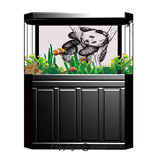 "Price comparison product image Terrarium Fish Tank Background, Animal Decor, Cute Little Panda Bear on Tree Branch Fury Tropical Jungle Zoo Sketchy Print, Black White, Photography Backdrop for Pictures Party Decoration, W48.03""xH18.11"""