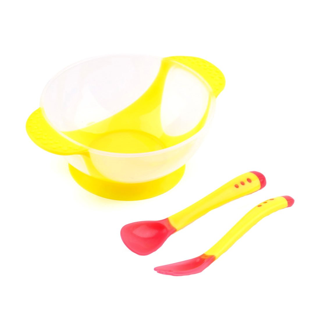 Set de cuenco con tenedor y cuchara para bebé , cuchara con detecció n de temperatura, cuenco con ventosa, vajilla antideslizante cuchara con detección de temperatura Luwu-Store