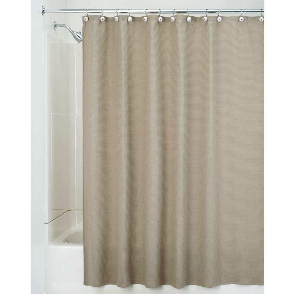 Amazon com mdesign hotel quality polyester cotton blend fabric shower curtain with waffle weave and rustproof metal grommets for bathroom showers and