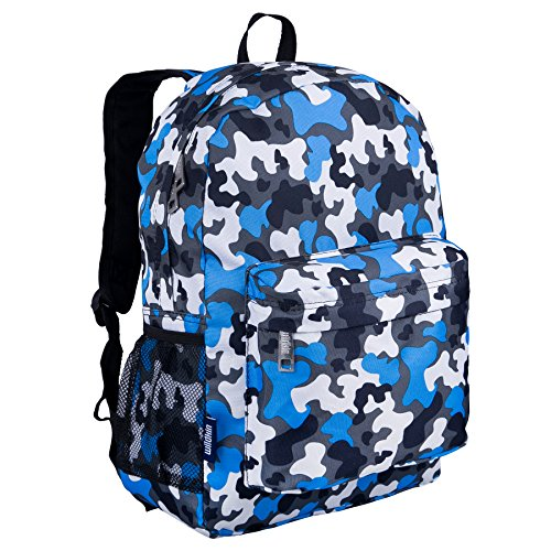 Wildkin 16 Inch Backpack, Durable Backpack with Padded Straps, Front Pocket, Moisture-Resistant Lining, and Two Mesh Side Pockets, Perfect for School or Travel – Blue Camo