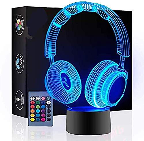 Auriculares Lámpara de ilusión 3D Luz nocturna, 16 colores Interruptor táctil de cambio automático Lámparas de…
