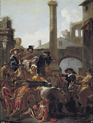 Costumes Carnaval Nature (High Quality Polyster Canvas ,the Best Price Art Decorative Prints On Canvas Of Oil Painting 'Miel Jan El Carnaval En Roma 1653 ', 18 X 24 Inch / 46 X 60 Cm Is Best For Laundry Room Decoration And Home Decoration And Gifts)