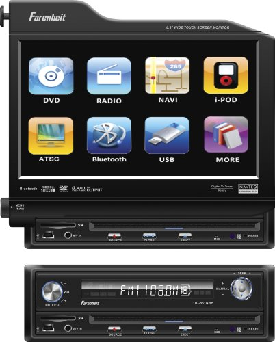 Fahrenheit TID-830NR In Dash Source Unit DVD Player Single DIN with 8.3 - Inch Touchscreen Flip Out Monitor