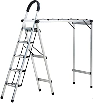 C-J-Xin Escalera multiusos, Escalera metálica de tres pasos Rack de secado de balcón Escalera doméstica de cuatro pasos Escalera portátil de cinco pasos Escalera de casa: Amazon.es: Bricolaje y herramientas