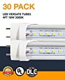 4ft 18W VersaT8 LED Tube, 3000K, Clear, Ballast Compatible or Bypass, UL and DLC Qualified, 5 Year Warranty, 30 Pack
