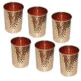SKAVIJ Pure Copper Water Tumblers Set of 6 Handmade Hammered Drinking Glasses for Ayurveda Health Benefit capacity 11 Oz