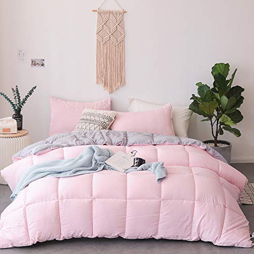 KASENTEX All All Season Down Down Alternative Quilted Comforter Set with Sham(s) - Reversible Ultra Soft Duvet Insert Hypoallergenic Machine Washable, Pink Potpourri/Quartz Silver by KASENTEX (Image #3)