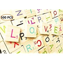 Abrrow 500 Colorful Wooded Scrabble Tiles Letter Tiles Wood Pieces-Great for Crafts, Pendants, Spelling,Scrapbook