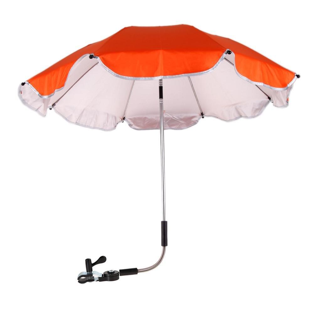 Chinatera Baby Pram Pushchair Buggy Shade Stroller Parasol Sunshade Stroller Umbrella with Universal Clamp (Orange Rose)