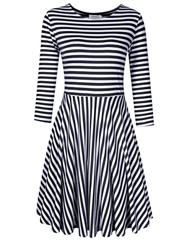 SoleMay Womens Scoop Neck High Low Long Sleeve Pleated Loose Swing Casual Midi Dress
