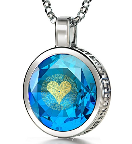 925 Sterling Silver I Love You Necklace 120 Languages 24k Gold Inscribed Blue Cubic Zirconia Pendant, 18
