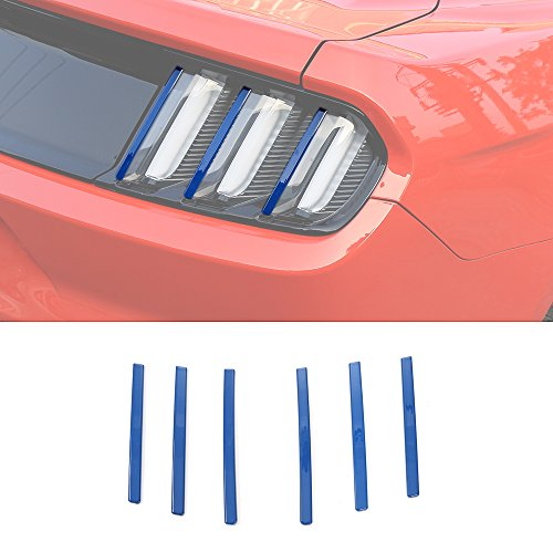 RT-TCZ ABS 6pcs Tail Light Decoration Bar Cover Trim for Ford Mustang 2015 2016 (Blue)