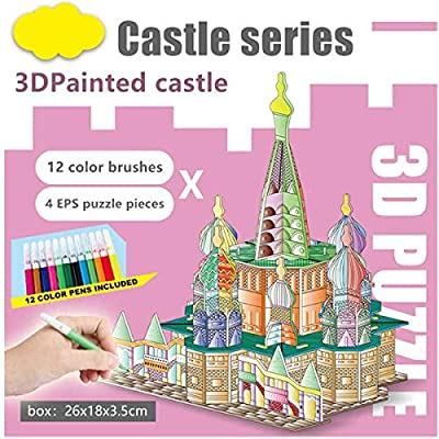 QUN FENG 3D Puzzle Set Art and Craft Coloring Painting 3D Puzzle Arts and Crafts for Kids Age 7 8 9 10 11 12. Fun Creative DIY Toys Gift for Girls and Boy Doodle, Castle: Toys & Games