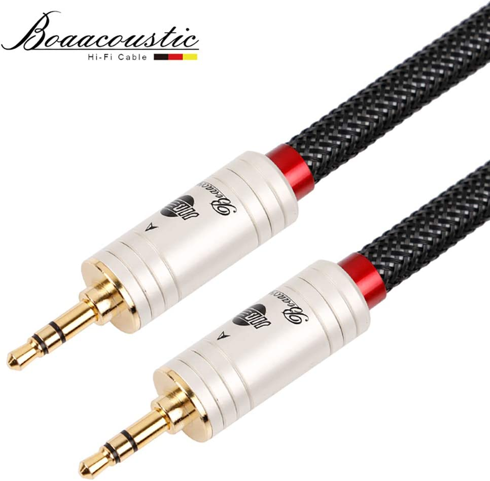 3.5mm Male to Dual RCA Gold-Plated Plug Black Cotton Braided Audio Cable for RCA Input Interface Active Speaker 5m Length