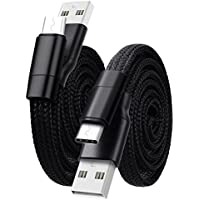 WorCord 2-Pack 2 ft USB C Cable Magic Auto Storage Nylon Braided Type C Charging 0.6m Black for Nexus 5X / 6P, Wileyfox Swift 2 / 2 Plus, Samsung Galaxy S8, Sony Xperia XZ, Nintendo Switch and More