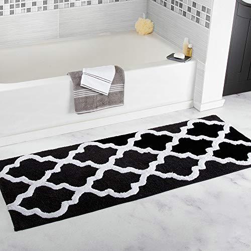 (ZaH Bathroom Runner Rug Area Rugs for Enterway Kitchen Front Door Mat Entrance Doormat Laundry Room Carpet Non-Slip Indoor Outdoor Runner (Black Geometric)