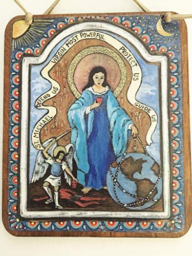 Angel St Michael Virgin Mary Retablo Icon Spanish Colonial Art blue 5 x 6 inch devotional painting print