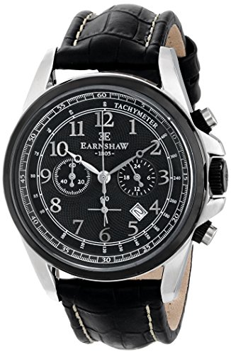 Thomas Earnshaw Men's 'Commodore' Quartz Stainless Steel and Leather Dress Watch, Color:Black (Model: ES-8028-07)