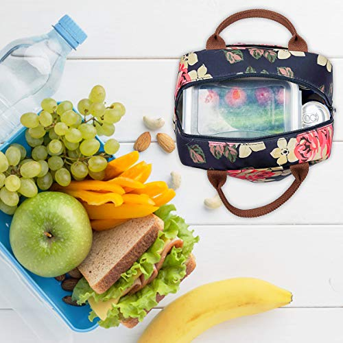 LOKASS Lunch Bag Cooler Bag Women Tote Bag Insulated Lunch Box Water-resistant Thermal Lunch Bag Soft Leak Proof Liner Lunch Bags for women/Picnic/Boating/Beach/Fishing/School/Work (Peony) by LOKASS (Image #7)
