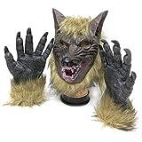 Tinksky Máscara espeluznante del látex del lobo de la cara llena y garras del lobo Traje de la broma del teatro Máscaras locas Traje de Víspera de Todos los Santos para las noches del horror de Halloween