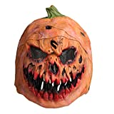 Pumpkin Head Mask, Latex Scarlet Scary Mask with Mesh Props for Masquerade Halloween