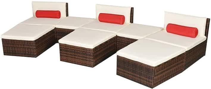 Xinglieu Juego de Dos Camas solares Modulares de jardín 22pz polirratán Marrón Juego de sillas y Mesa de jardín Mesa y sillas de jardín: Amazon.es: Jardín