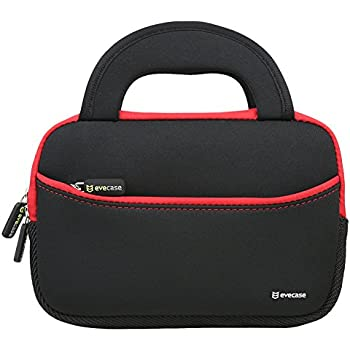 7 - 8 inch Tablet Sleeve, Evecase 7 ~ 8 inch Tablet Ultra-Portable Neoprene Zipper Carrying Sleeve Case Bag with Accessory Pocket - Black / Red