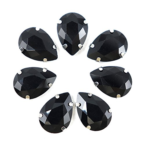 20pcs/lot 13X18mm Glass Drop-Shape Claw Drill Sew-on Rhinestones DIY Garment Accessories (Black) ()