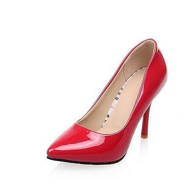 AgooLar Damen Ziehen auf Lackleder Spitz Zehe Stiletto Pumps Schuhe