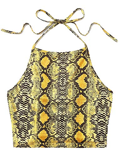 (Romwe Women's Sleeveless Snakeskin Halter Crop Tank Top Multicolored L )