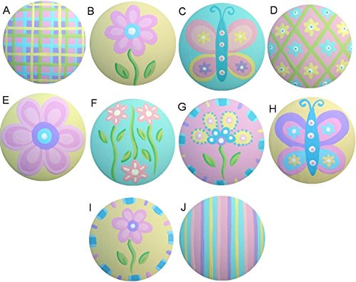Colorful Butterfly Flower Garden Mix Hand Painted Decorative Girl Nursery Baby Kids Dresser Drawer Knobs Pulls Choose Your Designs (SINGLE -