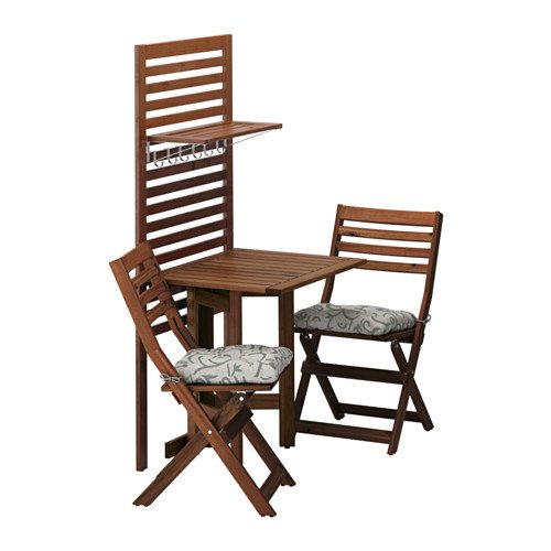 Ikea Wall panel, gateleg table & 2chairs, brown stained, Stegön beige 16204.172023.3010