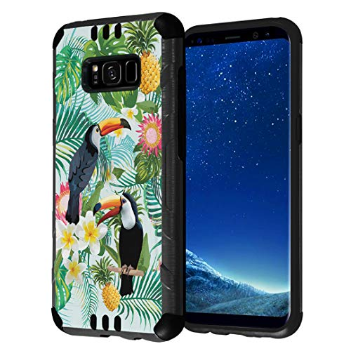 Capsule Case Compatible with Galaxy S8 [Hybrid Fusion Dual Layer Slick Armor Cushion Case Black] for Samsung Galaxy S8 SM-G950 SPHG950 - (Tropical Birds)