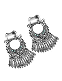 kesoto 1Pair Women Stainless Steel Earrings Gauges Tunnels Kit Dangle Ear Plugs Stretching Kit Piercing Plugs 6mm/8mm/10mm/12mm - Antique Silver