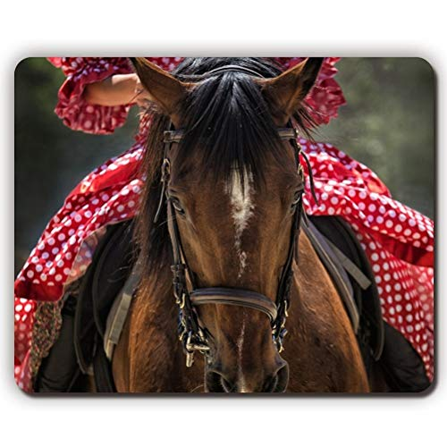 Gaming Mouse pad mousemat Mouse pad,Woman in red Dress Riding a Horse,Gaming Office Mousepad -