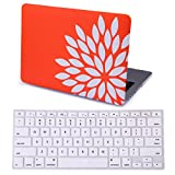 HDE MacBook Pro 13 Inch Retina Case Hard Shell Cover Rubberized Soft Touch Plastic with Silicone Keyboard Skin Fits (No CD Drive) Model A1425 and A1502 (Flower Petals Orange)