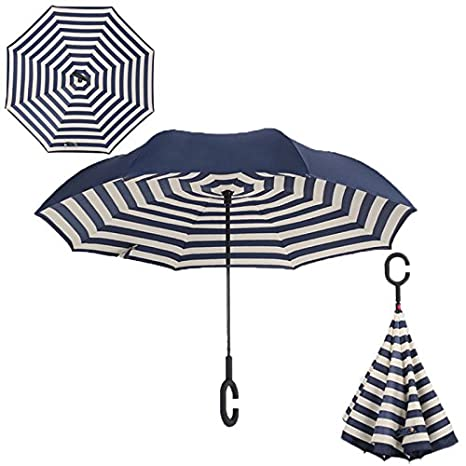 HOMEIC Folding Reverse Umbrella Double Layer Inverted Windproof Rain Car Umbrellas Naval stripe