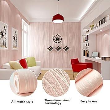KINLO®Tapeten Vlies Rosa schlafzimmer 3d selbstklebend 5mX53cmx0 ...