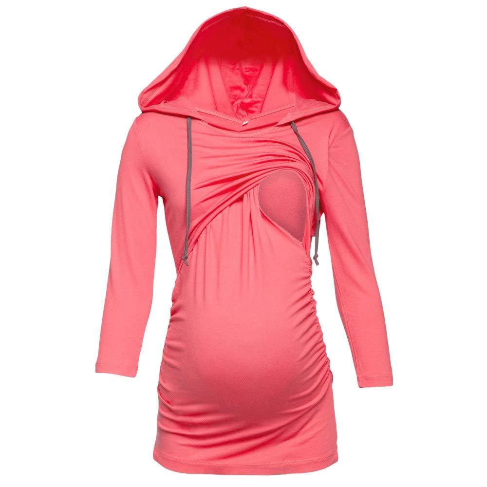 FIRSS Damen Zweilagiges Umstandsmode Mit Kapuze Pullover Bluse Sweatshirt Langarmshirt Hoodies Schwangerschaft Tops mit Kapuze Oberteile T-Shirt