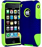 iPhone 3 Phone Case, Bastex Heavy Duty Hybrid Soft Green Silicone Gel Cover Hard Navy Blue Mesh Case for iPhone 3, 3G, 3S, 3GS