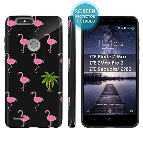 [Mobiflare] TPU Phone Cover for ZTE Blade Zmax Pro 2/ZTE Sequoia [Black] Ultraflex Gel Phone Case Screen Protector Included - [Flamingo Palm] for ZTE Blade Z Max Z982 [6